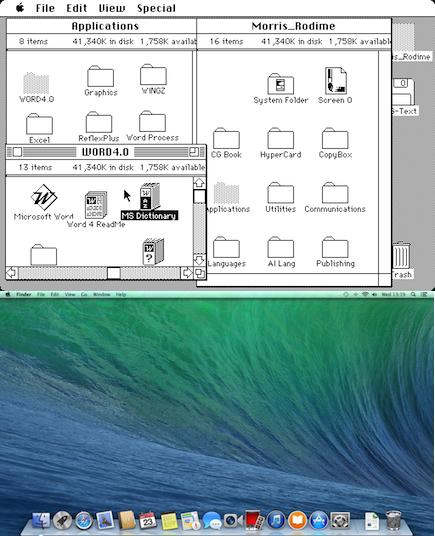 Original Mac's GUI (top) and the GUI of OS X Mavericks (bottom)
